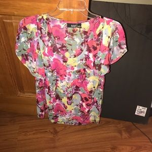a.n.a Beautiful Watercolor Flower Design Blouse